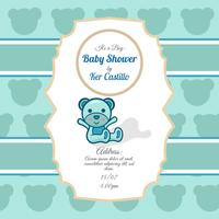Sky blue card for baby shower with a cute bear
