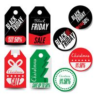 Black Friday en kerst verkoop badges en labels
