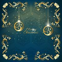 Blaue und goldene Grußkarte der Weinlese Weihnachten mit Blumendekoration