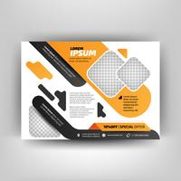 Orange and black business flyer template. Modern background