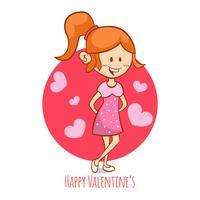 Chica romántica de dibujos animados del día de San Valentín