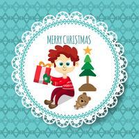 Cartão de Natal com criança bonito dos desenhos animados