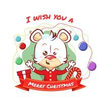 Disegno di orso con palle di Natale