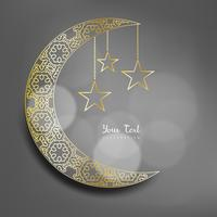 Ramadan Kareem theme. Vector card with flashlights, moon and lights