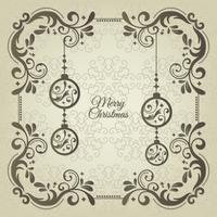 Vintage christmas greeting card with floral decoration