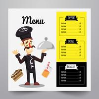 Menu with chef illustration