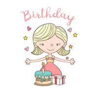 Cartão de aniversário com linda garota