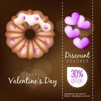 Lege de groetcake van de valentijnskaartengroet op bruine achtergrond