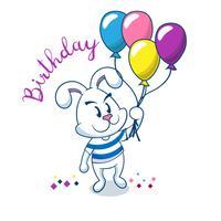 Tarjeta de cumpleaños con lindo conejo