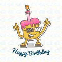 Illustration de joyeux anniversaire avec un gâteau