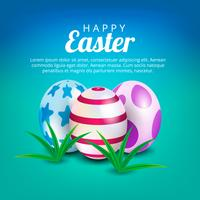 Color Easter eggs for Your design. Blur green background