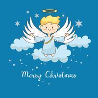 Tarjeta de felicitación, tarjeta de navidad con angel de navidad.