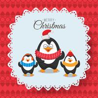 Merry Christmas and happy new year childish card, image of three penguins in scarf. Can be used as Christmas party invitation