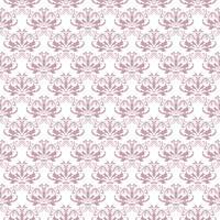 Estampa floral. Papel de parede barroco, damasco. Vetor sem costura de fundo. Ornamento roxo e branco