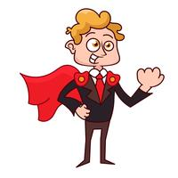 Cartoon superhero standing with cape