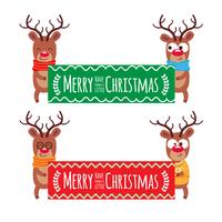 Cartoon Christmas Santa's reindeer lean on and pointing at a board. Merry Christmas