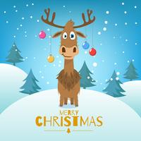 Christmas background with trees and reindeer