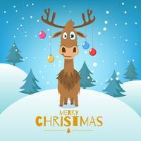 Sfondo di Natale con alberi e renne