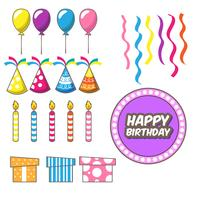 Set of birthday party design elements. Colorful balloons, candle, confetti, gift and hat