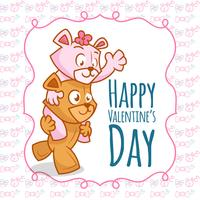 Happy valentine's Day. Two happy bear