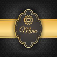 Black menu cover with gold ornament