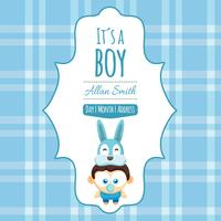 Blue baby shower card in cute style
