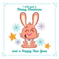 Christmas background with a cute rabbit