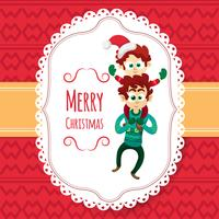 Christmas card with cute cartoon kid and father