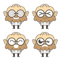 Funny Scientist Or Professor Cartoon Characters.