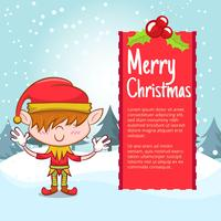 Christmas background with elf boy