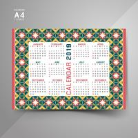 2019 Calendar with colorful patterns