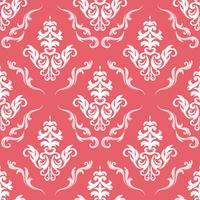 Floral pattern. Wallpaper baroque, damask. Seamless vector background. Red and white ornament