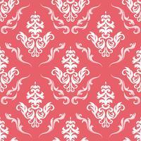 Blumenmuster. Tapete Barock, Damast. Nahtloser vektorhintergrund. Rote und weiße Verzierung