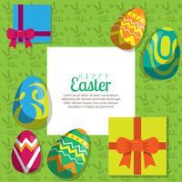 Fond avec œufs suspendus et cadeau, illustration vectorielle. Carte de voeux Joyeuses Pâques