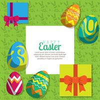 Background with hanging eggs and gift, vector illustration. Happy Easter greeting card