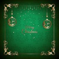 Tarjeta de felicitación verde y dorada de Navidad vintage con decoración floral