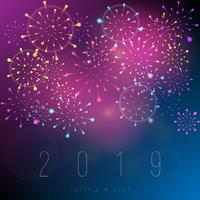 Realistic fireworks new year 2019 background