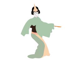 Vector cartoon illustration of a geisha