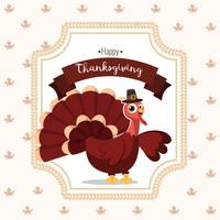 Thanksgiving greeting card with a turkey bird. White background with funny cartoon character for holiday