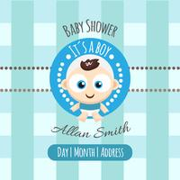 Baby shower card with cute boy