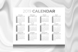 2019 calendar with marble texture