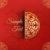Eleganter roter Hintergrund mit halbem Mandaladesign