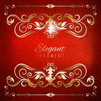 Vintage invitation card. Red luxury background with golden frame. Template for design