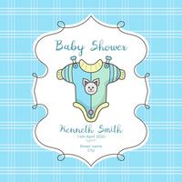 Baby shower card with cute shirt and bear