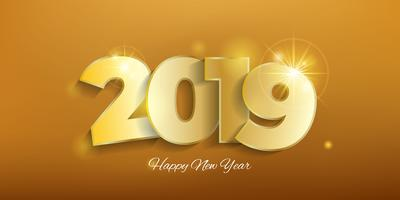 Golden background of new year 2019
