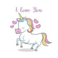Unicornio lindo con el corazón. te amo mensaje