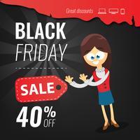 Modèle de conception inscription vente vendredi noir. Illustration vectorielle Caricature de femme d'affaires