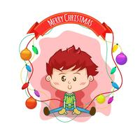 Drawing of kid with Christmas balls