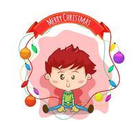 Drawing of kid with Christmas balls
