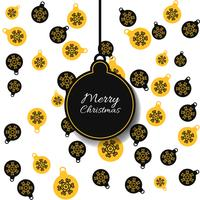 Vector seamless pattern with christmas balls with yellow and black colors